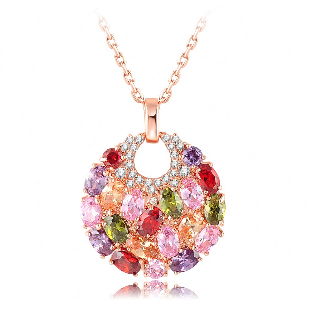 New Trendy Round Shaped Pendant Necklace Real Rose Gold Plated Multicolor Cubic Zirconia Inlay Female Necklace CNL0008-A(China (Mainland))