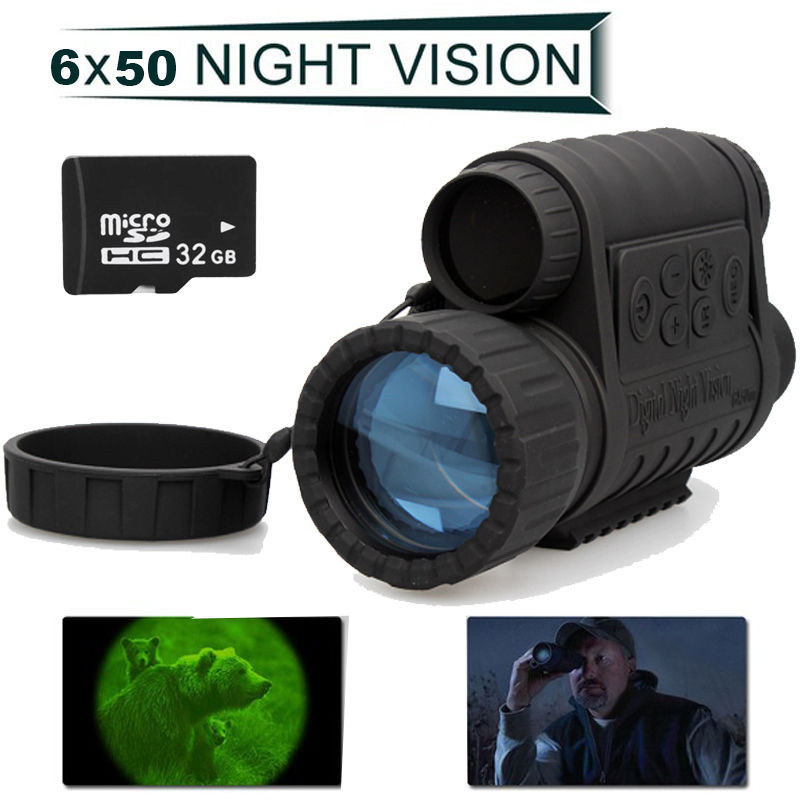 Free Shipping!HD 720P WG-50 Infrared Night Vision IR Monocular Telescope 6x50 Record 32G Card<br>