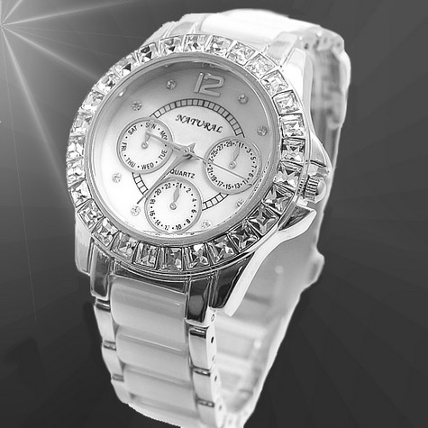 FW830E Shiny Silver Band PNP Shiny Silver Watchcase Ladies Ceramic Fashion Watch