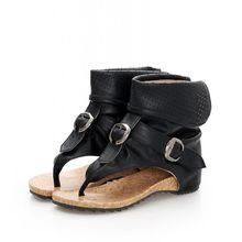 Yüksek kaliteli roma sandalet Serin Klip Ayak düz çizmeler 2018 Moda Kadın Yaz Çizmeler Içi Boş yarım çizmeler Toka(China)