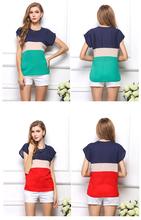 Summer style Hot Sale 2015 New fashion Women Chiffon blouse Lady fashion plussize printing Top shirt  ly6(China (Mainland))