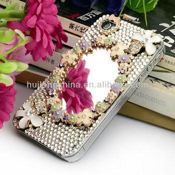 Free shipping New Bling Handmade 3D Flower Diamond Rhinestone Case Cover For iPhone 4 4g 5