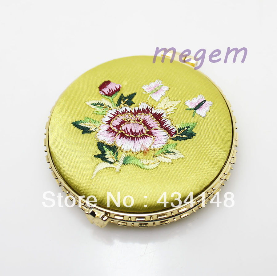 pretty makeup compact mirror yellow cloth embroidered diameter 70mm(China (Mainland))