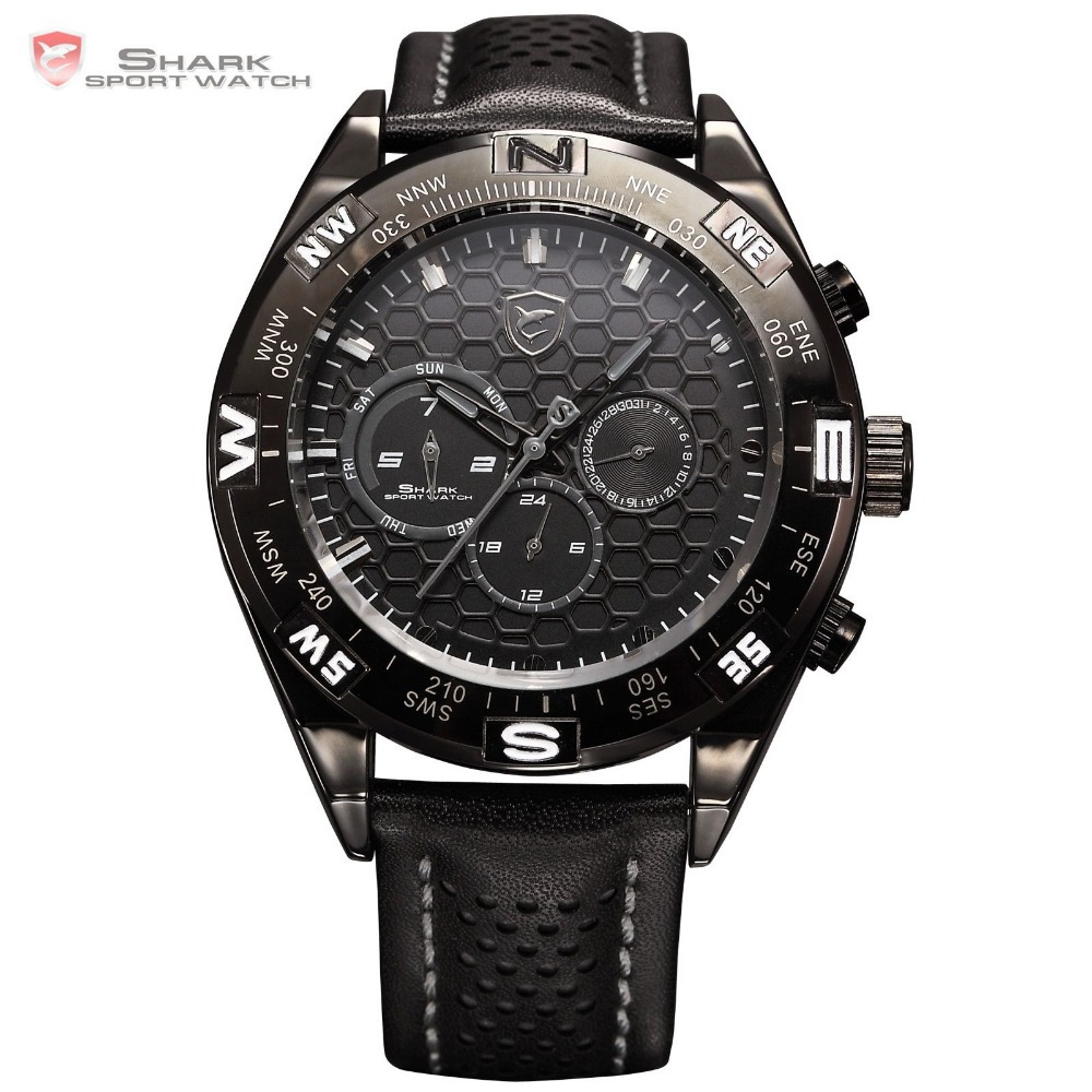 Shortfin Shark Black Sport Relogio 6 Hands Dual Time Day Date Display Genuine Leather Strap Men Quartz Men Sport Watch / SH152(China (Mainland))