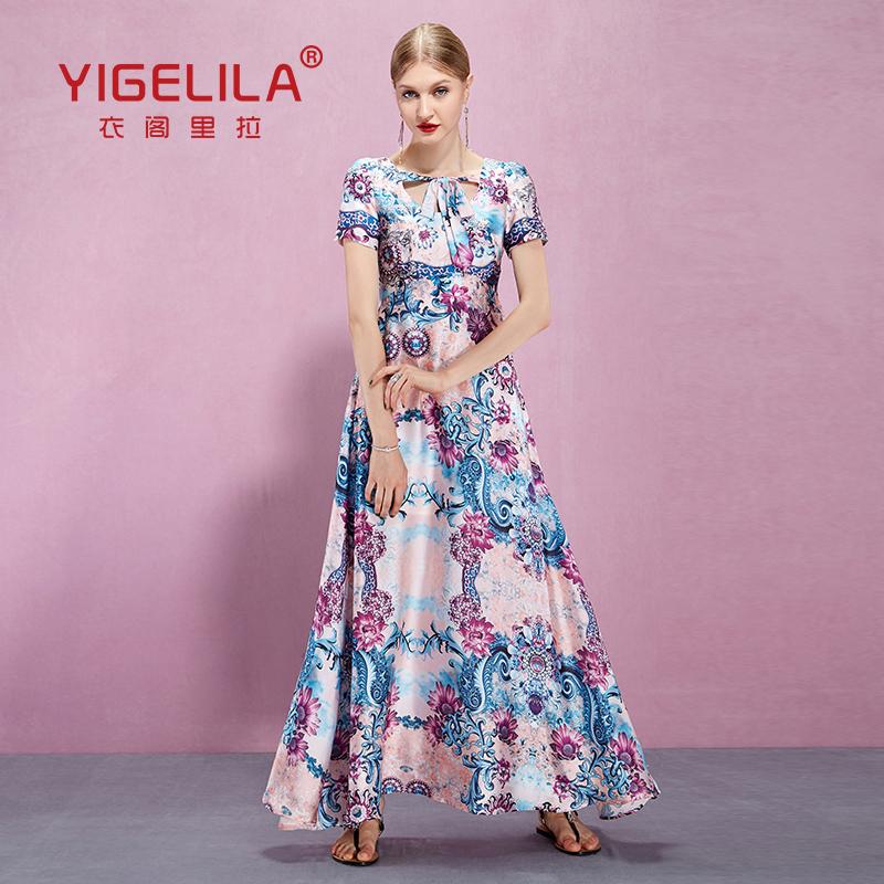 YIGELILA Brand 61094 Summer Print Long Dress Women O-neck Short Sleeve Holiday Beach Dresses - store