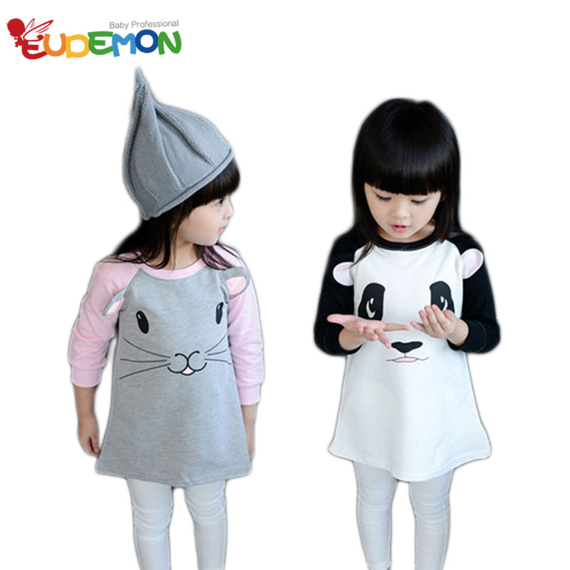 2015 Fashion kids girl clothes Cute Cat Long-sleeved T-shirt dress Cotton High Quality kids clothes autumn girls clothes(China (Mainland))