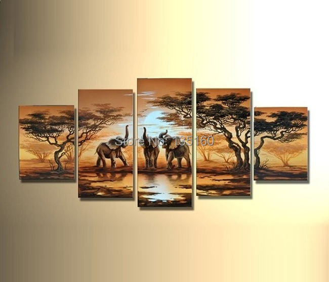 Hand Painted Oil Painting Abstract Landscape African Painting Canvas Elephants Giraffe Pictures Modern Room Decor 5PCS Wall Art(China (Mainland))