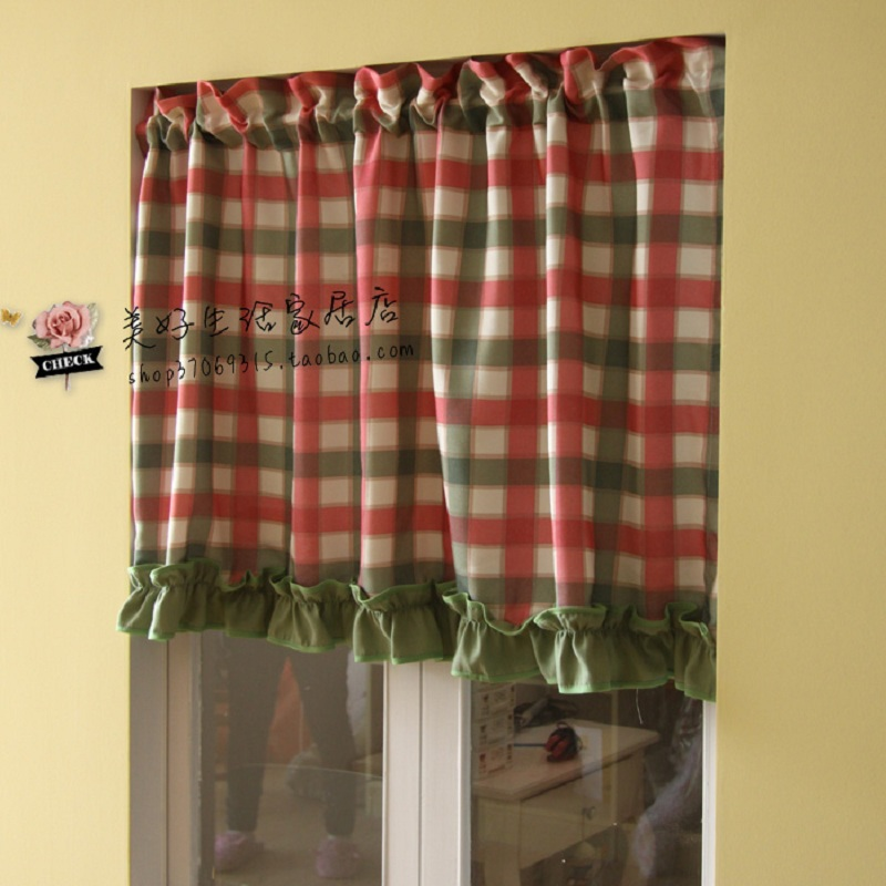 Free Shipping Red And Green Plaid Green Ruffle American Rustic Semi Shade Curtain Kitchen