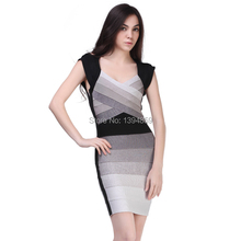 Multi-color Ombre grey bandage dress