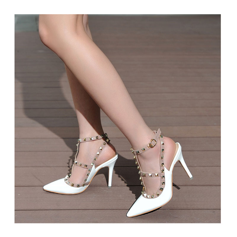 Fashion High Heels Shoes Woman Ladies Sexy Pointed Toe Pumps Buckle Rivets Heels Party Dress Shoes 10cm In Summer(China (Mainland))