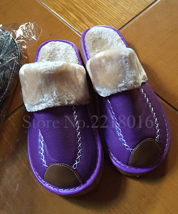 Plus Size 35-44 Genuine Leather Warm Winter Home Slippers Non-Slip Thick Warm House Shoes Cotton Women Men Slippers 8 Colors