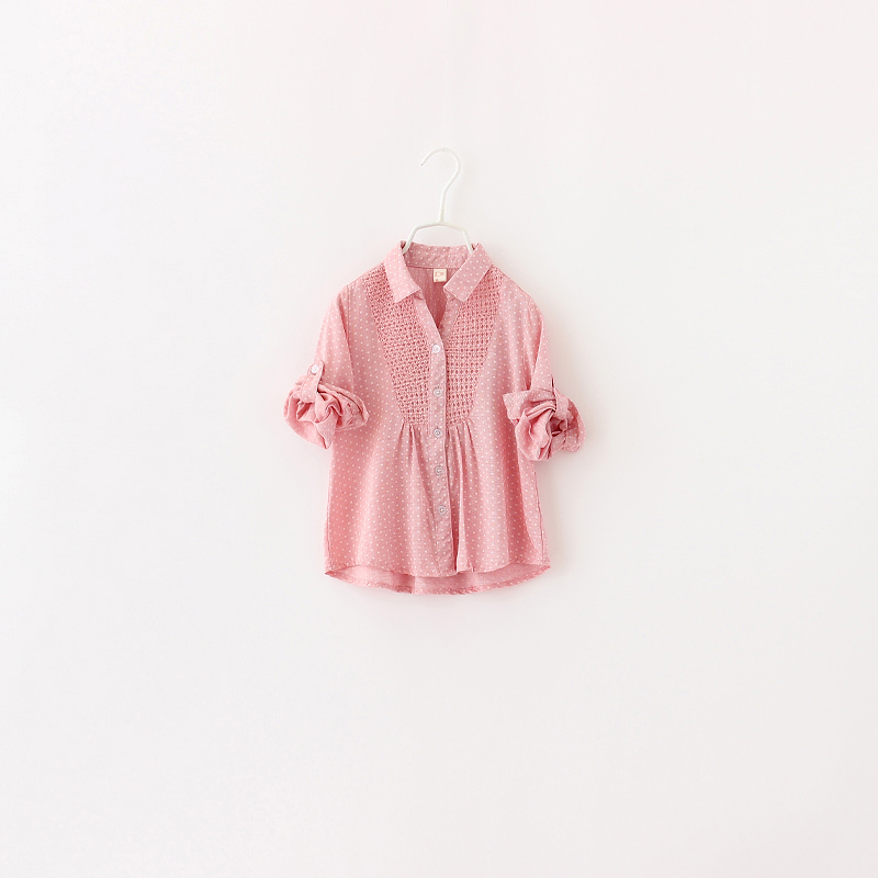 Baby Girls Casual Shirts Spring Fashion Dot Design Kids Turn-down Collar Full Sleeve Children Cotton Polka Clothing 6pcs/ LOT<br><br>Aliexpress
