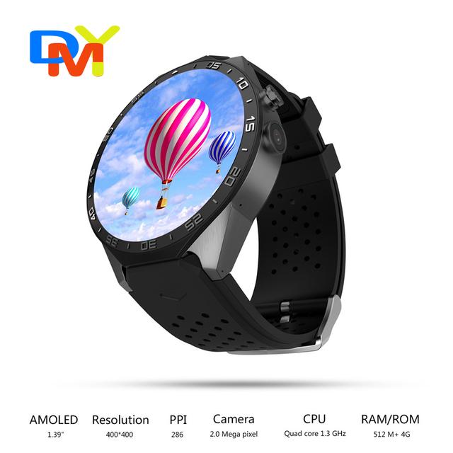 KW88 3 Г WI-FI GPS smart watch Android 5.1 OS MTK6580 ПРОЦЕССОР 1.39 дюймов Экран 2.0MP камеры smartwatch для apple moto huawei