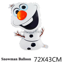 72*43cm Olaf Foil Helium Balloon Birthday Party Balloons Snowman Balloon Wedding Decoration Kids Gift Toy(China (Mainland))