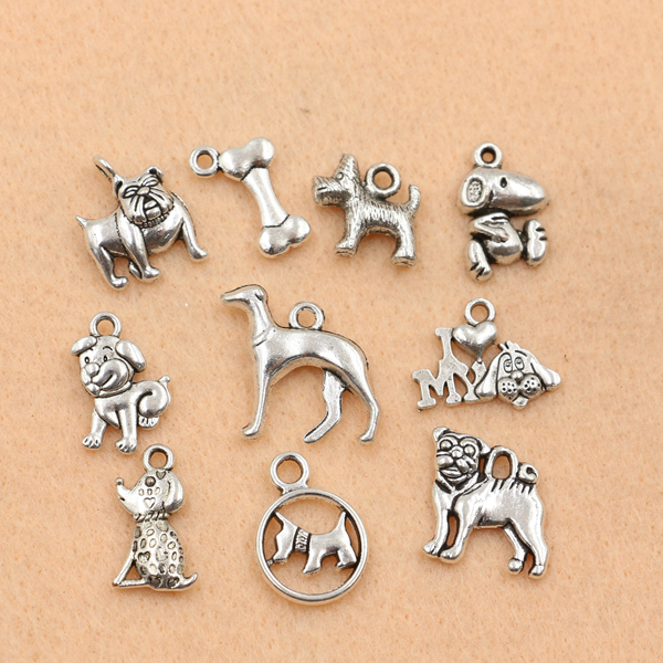10pc Mixed Tibetan Silver Plated Animals Dogs Charms Pendants Jewelry Making DIY Charm Handmade Crafts m028(China (Mainland))