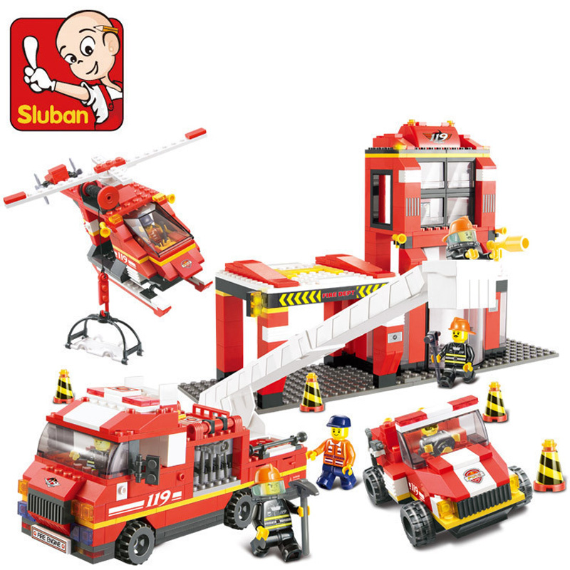 Sluban 0227 NEW City series Fire Department Emergency Fire Engine Helicopter Set Building Block Educational Minifigure boy Toy(China (Mainland))