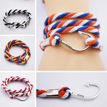 2015 New Women Man hop Bracelet  Fashion 4 color Individuality Silver Hope Fish Hook Multilayer Rope Bracelets