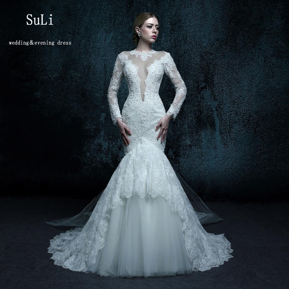 Zxb034 elegant appliques sheer high neck bridal gowns long for Elegant long sleeve wedding dresses