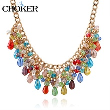 Women Unique Charming Gold Chain Necklace Crystal Necklace Statement Necklace Bohemian Jewelry SNE140464