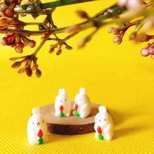 sale~4Pcs/ bunny rabbit//miniatures/lovely cute/fairy garden gnome/moss terrarium decor/crafts/bonsai/DIY supplies/figurine(China)