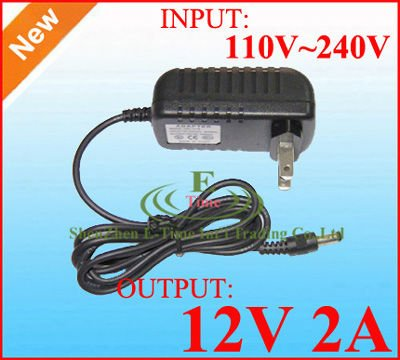 wholesale 50pcs / Lot High Quality DC 12V 2A Power Adapter Supply adaptor For CCTV Cameras / Led Strip Light DHL free shipping(China (Mainland))