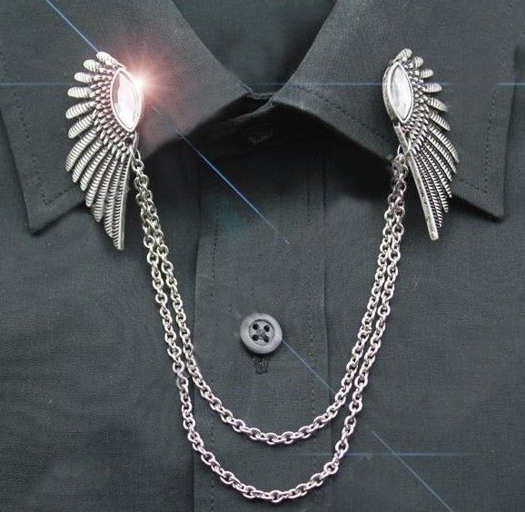 Hot-selling fashion accessories CZ diamond wings Broach chain vintage collar clip Brooch chain shirt neck Free shipping(China (Mainland))