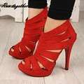 Summer cut outs gladiator women pumps peep toe high heels sandals shoes woman party wedding heels