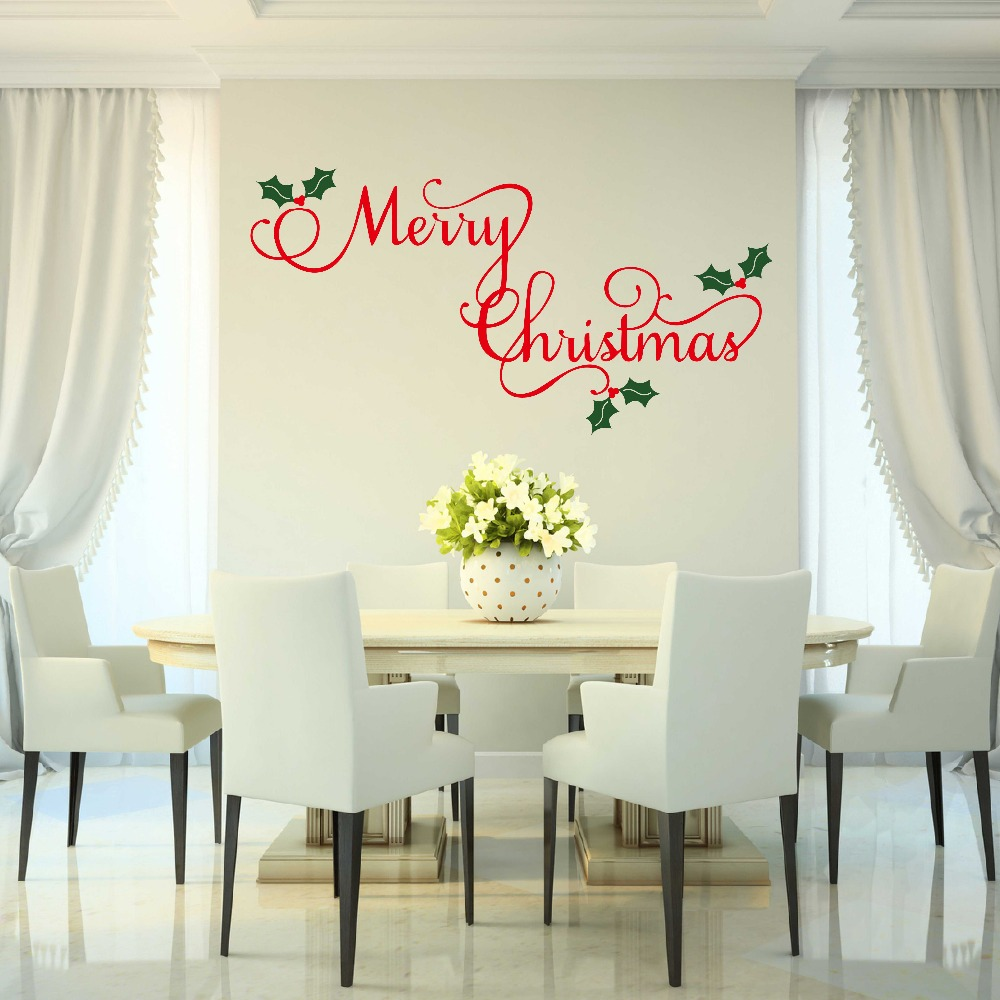Merry Christmas Wall Decal Holiday Decor Christmas Vinyl Decal Wall Decors Home Stickers 680MX(China (Mainland))