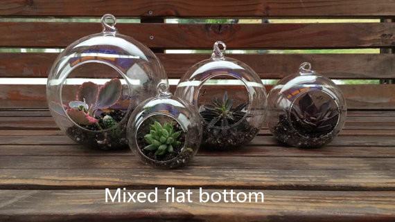 4 PCS Fashion round hanging glass vase/candlestick,Handmade Succulent Terrarium Kit for Home decoration (flat bottom)(China (Mainland))