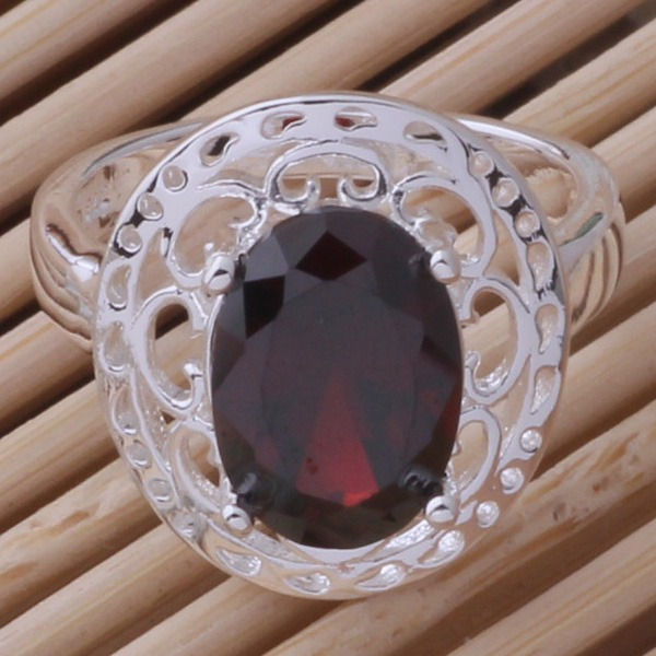 Silver Ring Fashion Jewellery Ring Women&Men classica/dark red stone /aqeajhla cckaktra AR412(China (Mainland))