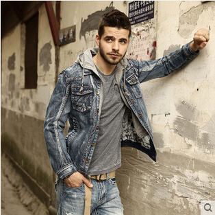 2014 Denim Jacket Men Removable Hoodies Jeans Outwear Mens Slim Fit Denim Jackets Winter Fashion ...