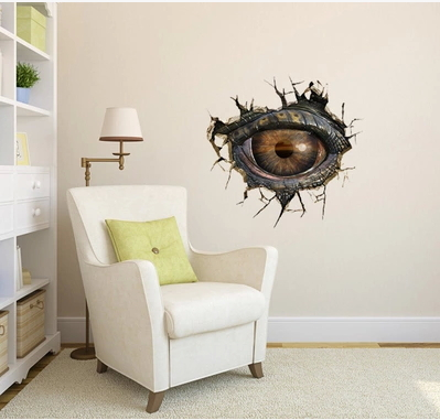 Home Decoration Dinosaur eye Halloween 3D three-dimensional living room wall stickers waterproof removable Free shipping(China (Mainland))