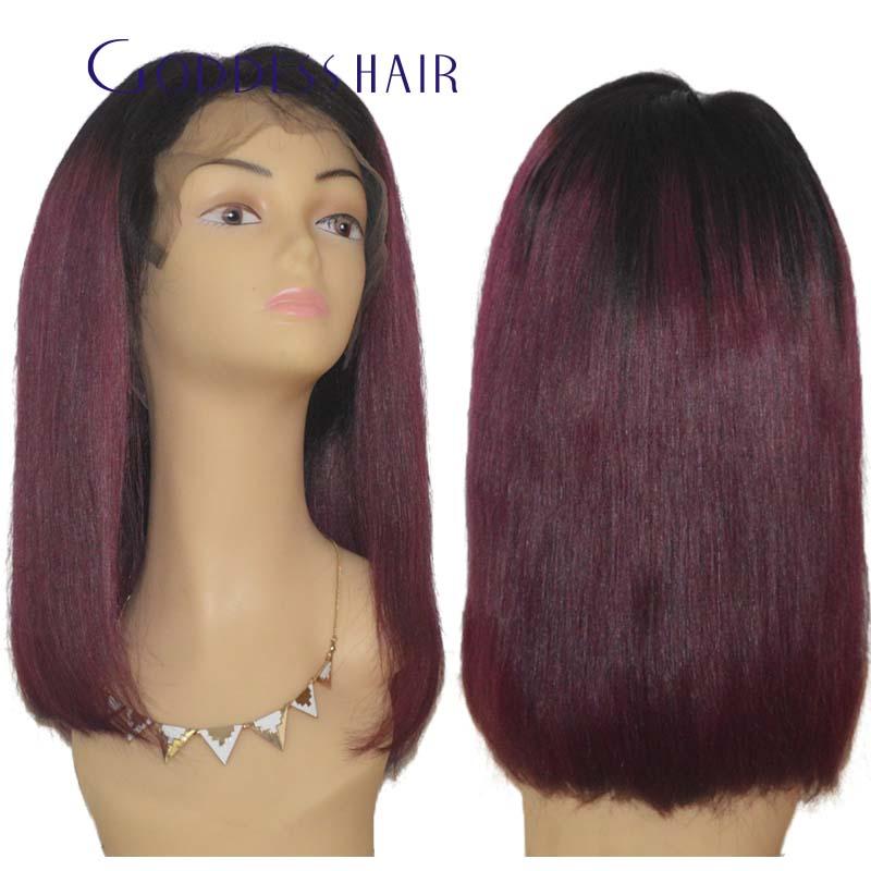 Short purple ombre humna hair bob wig Goddess hair 1bTpurple glueless lace front wig full lace wig 8A brazilian virgin hair bob<br><br>Aliexpress