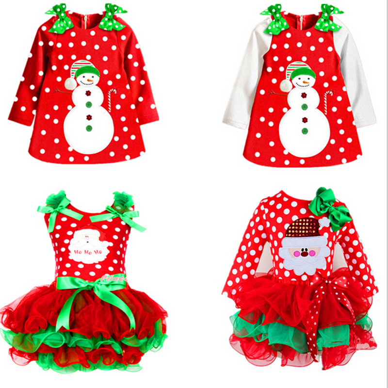 Year red infant girl dress christmas santa snowman costume festival