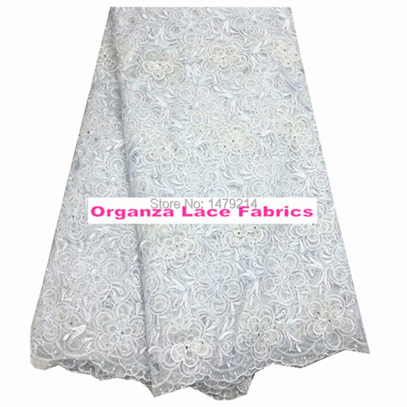 (5yards/lot) PGC0818-3 white best quality African organza lace fabric with stones! wholesale net lace fabric for dress!(China (Mainland))