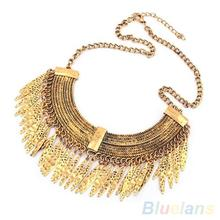 Women's Vintage Arc-shaped Willow Salix Leaves Golden Alloy Chain Necklace Jewelry