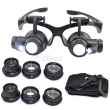 A96 Free Shipping 10X 15X 20X 25X LED Double Eye Jeweler Watch Repair Magnifier Glasses Loupe Lens