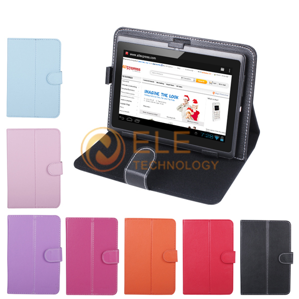 "PU Leather Case Cover for 7"" Tablet PC MID 7inch Tablet Stand Case tablet universal case(China (Mainland))"