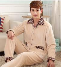 Home Suits Coral Fleece Sleepwear 2015 Winter Men Flannel Pajamas Thick Pijama Masculino(China (Mainland))