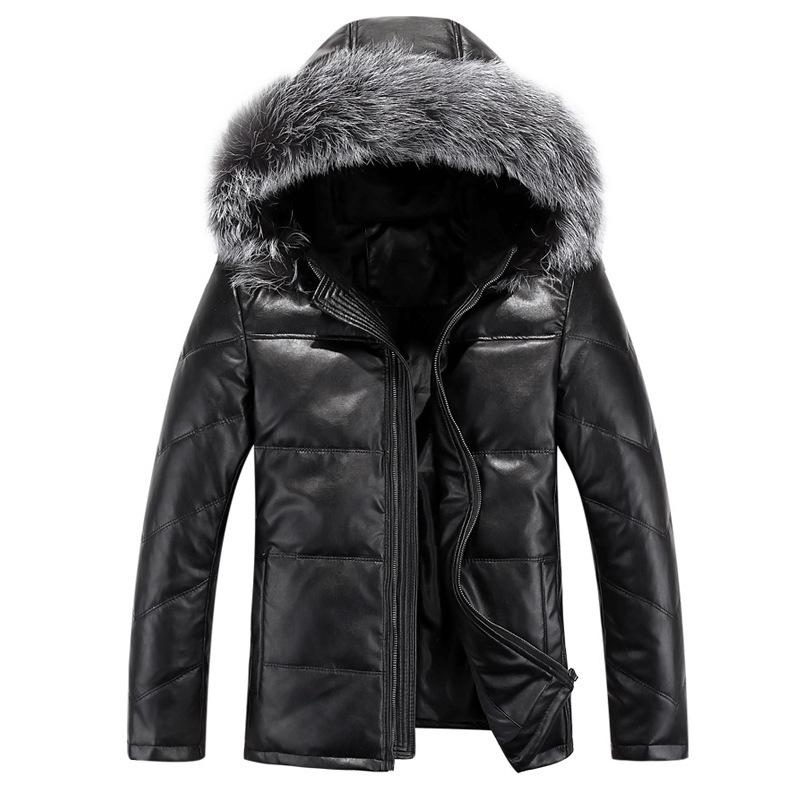 2015 высокое качество зимой на открытом воздухе твердых PU кожаный жакет мужчин лозы утка вниз куртки ветровки теплые меха лисы капюшон пуховик 13M0300