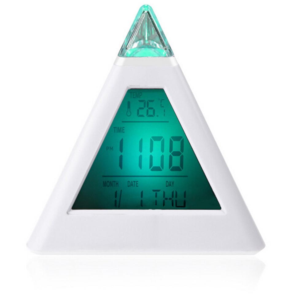 new fashion cool new fashion pyramid temperature led change backlight led alarm clock in alarm. Black Bedroom Furniture Sets. Home Design Ideas