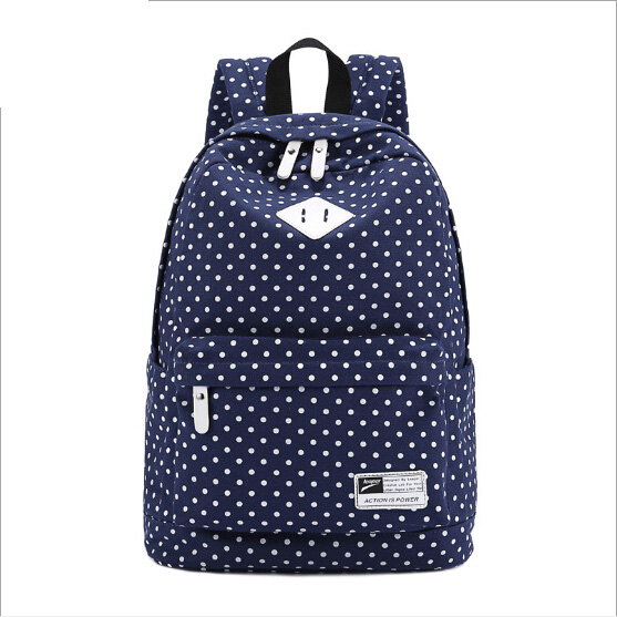 2014 New Arrival Autumn And Winter Casual Canvas Backpack Women And Men Unisex Backpack Cute Dot Printing Backpack Shoulder Bags