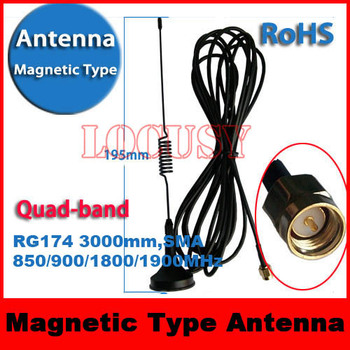 Gsm Gprs 3G  Antenna RG174 SMA magnetic Type 850MHZ/900MHZ/1800MHZ/1900MHZ 3000mm
