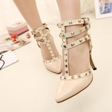 V Europe and the small chili rivet shoes pointy high heels stiletto shoes women bandage spell