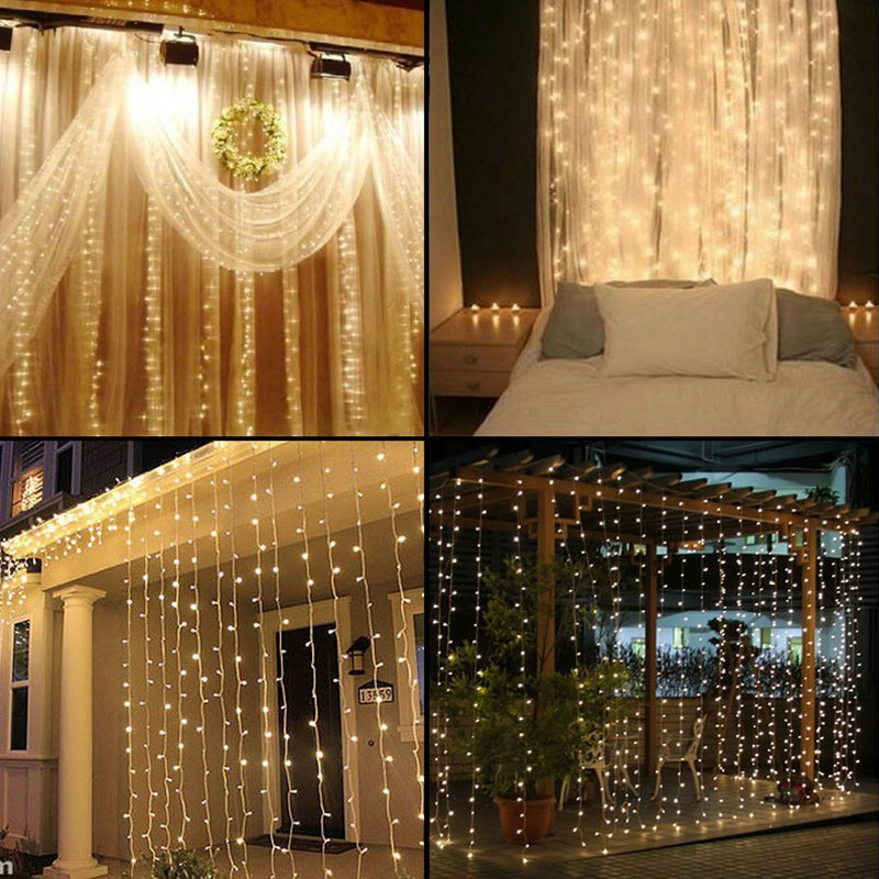 110V 220V 3MX3M 300led curtain icicle string lights led fairy lights Christmas lamps Icicle Lights Xmas Wedding Party Decoration(China (Mainland))