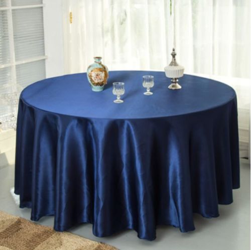 10pcs Navy blue 120 Inch Round Satin Tablecloths Table Cover for Wedding Party Restaurant Banquet Decorations(China (Mainland))