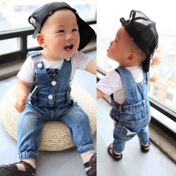 Free shipping 2014 new summer baby boys jeans overalls bebe trousers denim jeans boys girls jumpsuit infant jeans clothing wear(China (Mainland))