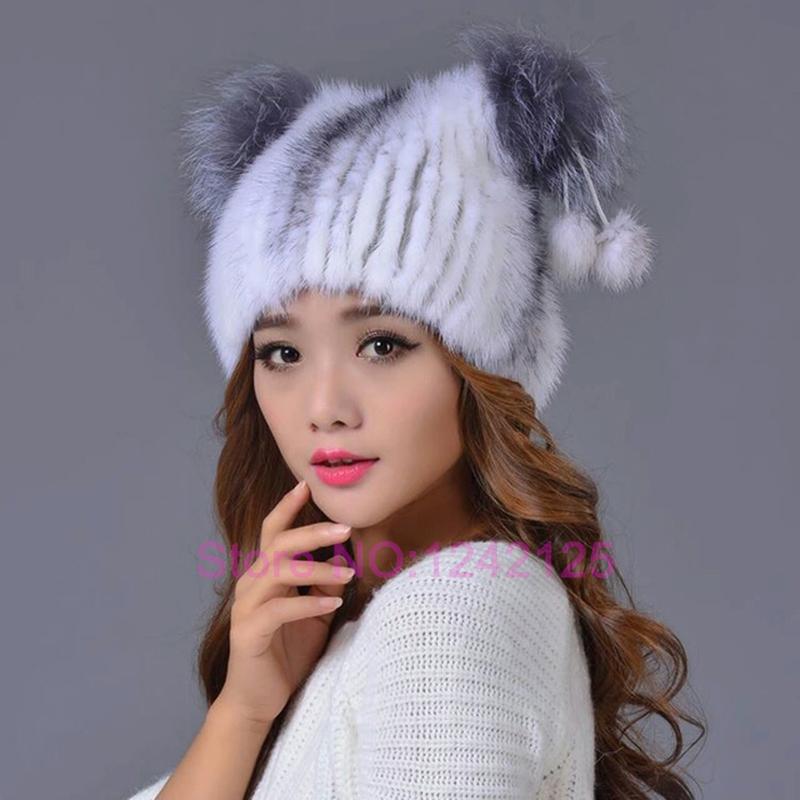 New autumn winter women girl genuine leather mink fur hat pompoms lovely cat ear latest real Parent-Child paternity fur caps hat<br><br>Aliexpress