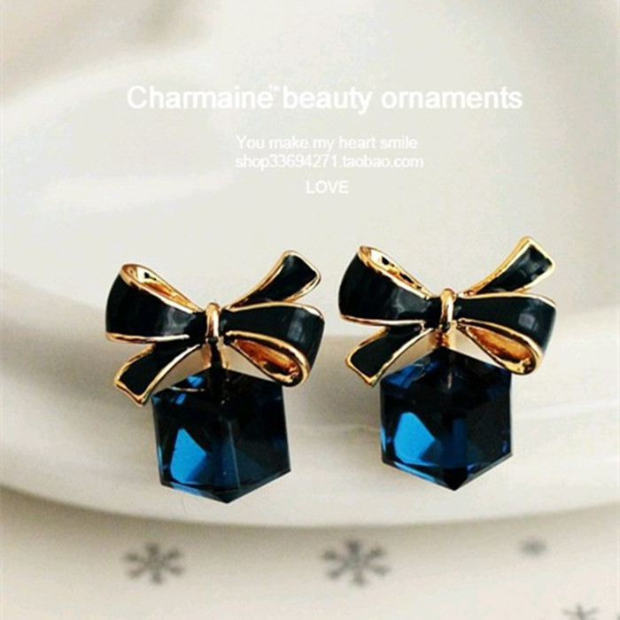 Hot Sale Fashion Korean Bowknot Dangle Shiny Cube 3D Crystal Ear Studs Piercing Jewelry Hypoallergenic Navy Blue Earrings bijoux(China (Mainland))