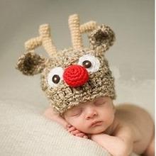 Baby Cap Newborn Photography Props Handmade Child Cap Cartoon Deer Crochet Animal Style Baby